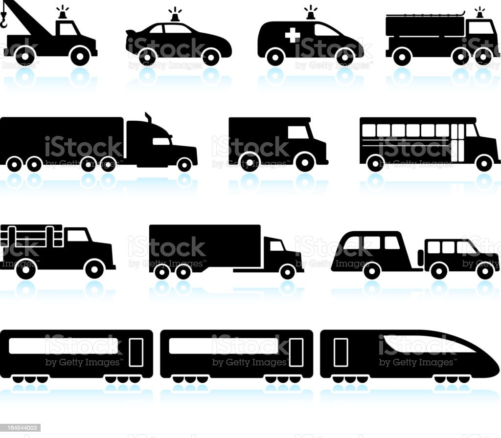 Large Scale Transportation black and white vector icon set vector art illustration