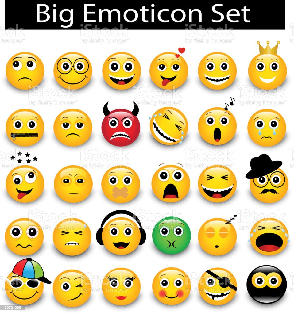 large Set a round yellow emoticons vector art illustration