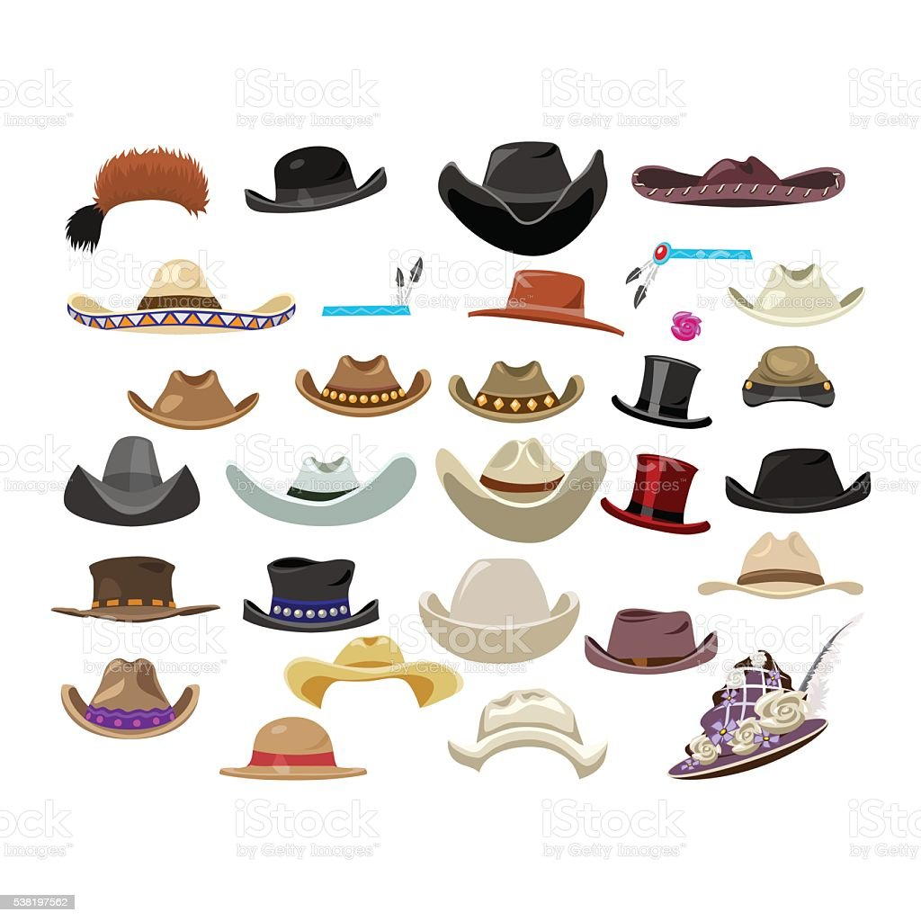 Large set of 29 vintage hats in different style vector art illustration
