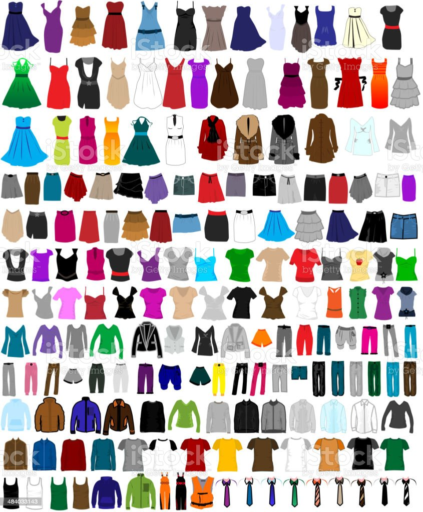 Large set of clothes for men and women vector art illustration