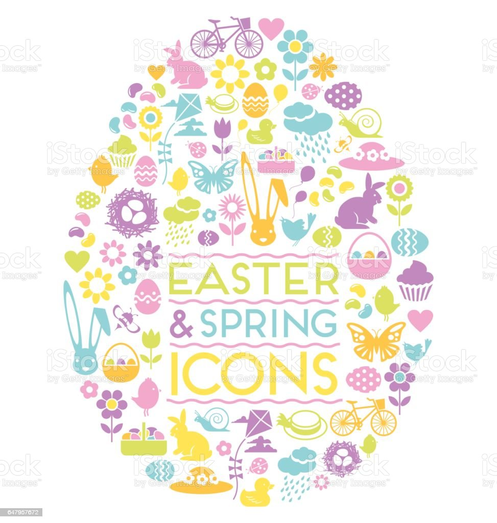 large set of easter and spring icons in easter egg shape stock