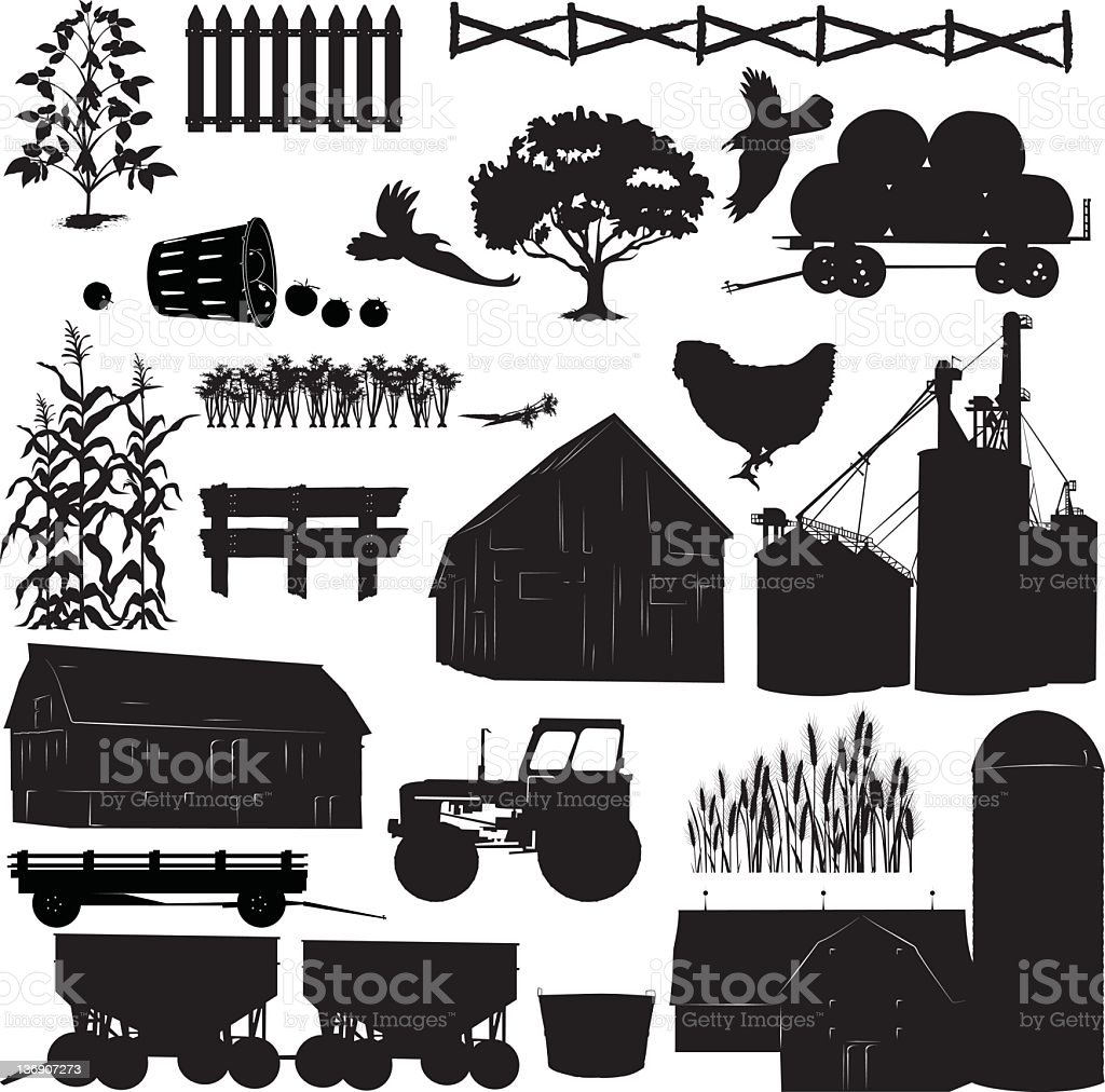Large set of Farm and Agriculture Elements Black Icon Silhouettes. stock photo
