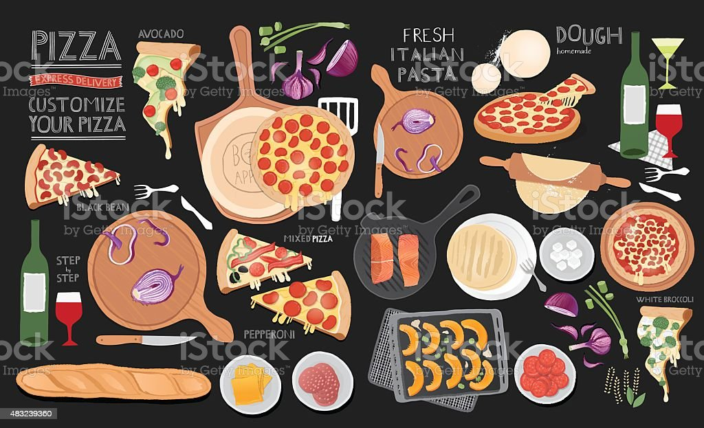 Large set of food illustrations. vector art illustration