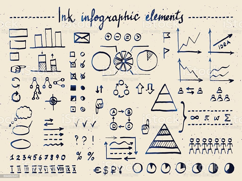 Large set of infographic elements and doodles vector art illustration