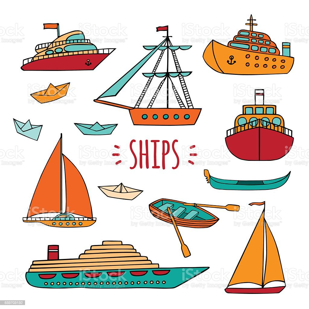 Large set of marine vessels. vector art illustration