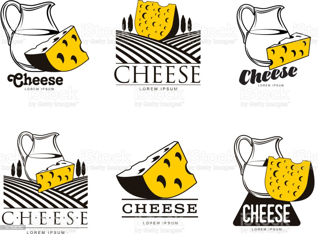large set of various logo with cheese vector art illustration
