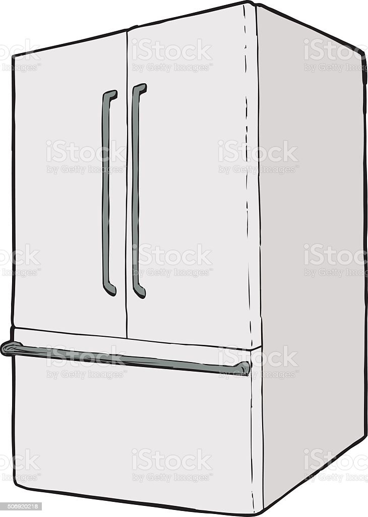 Large single closed refrigerator vector art illustration