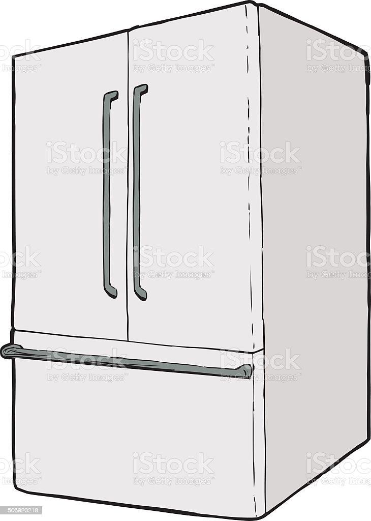Large single closed refrigerator vector art illustration
