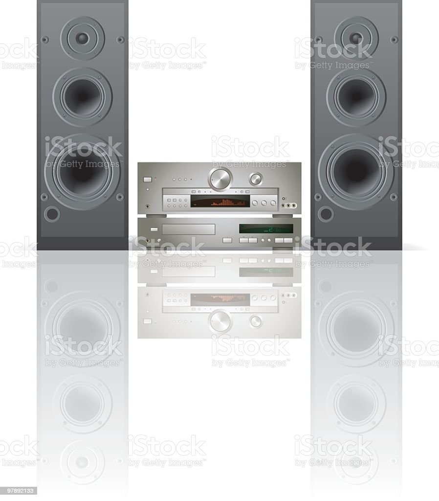 Large sound system against a white background royalty-free stock vector art