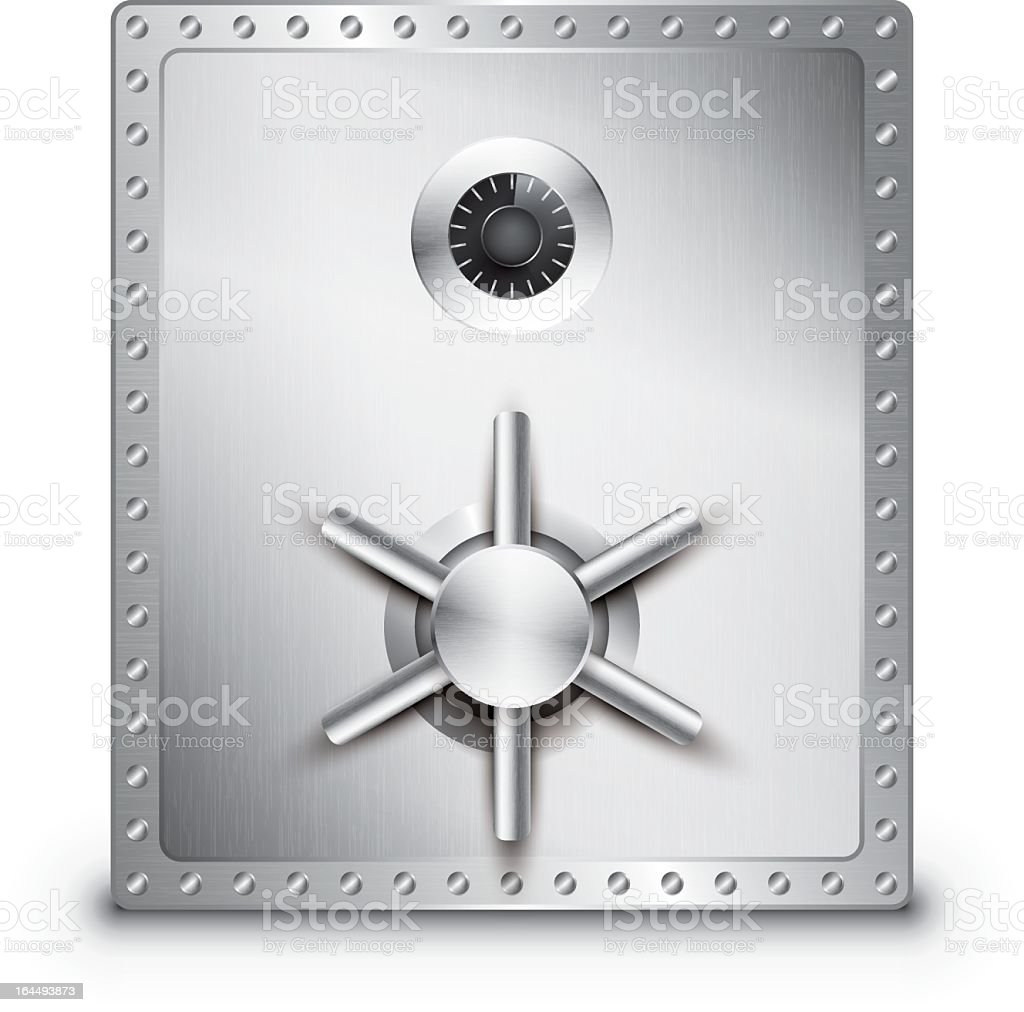 A large stainless steel locked safe on a white background royalty-free stock vector art