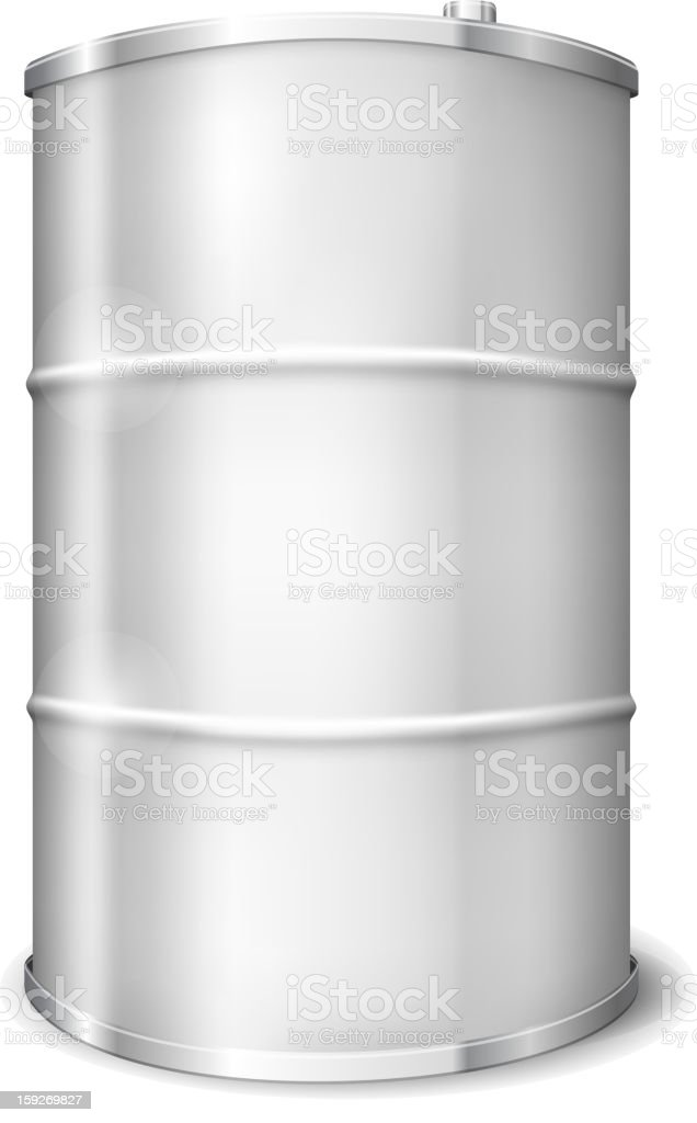 Large stainless steel oil barrel royalty-free stock vector art