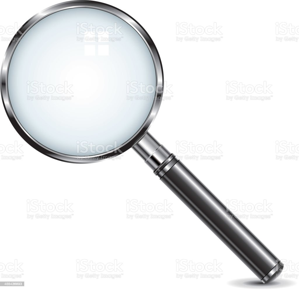 Large tilted magnifying glass on white background vector art illustration