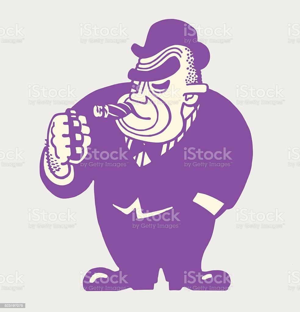 Large Tough Man Smoking a Cigar vector art illustration