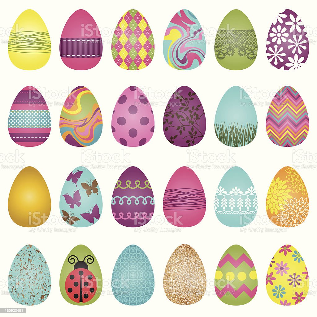 Large Vector Set of Easter Eggs royalty-free stock vector art