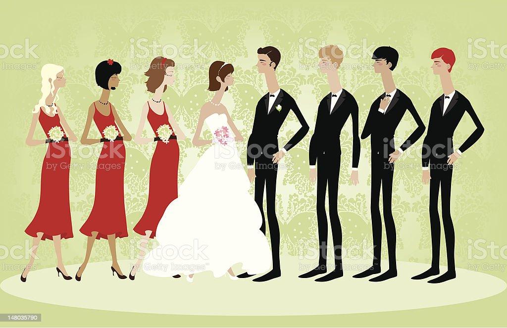 Large Wedding Party vector art illustration