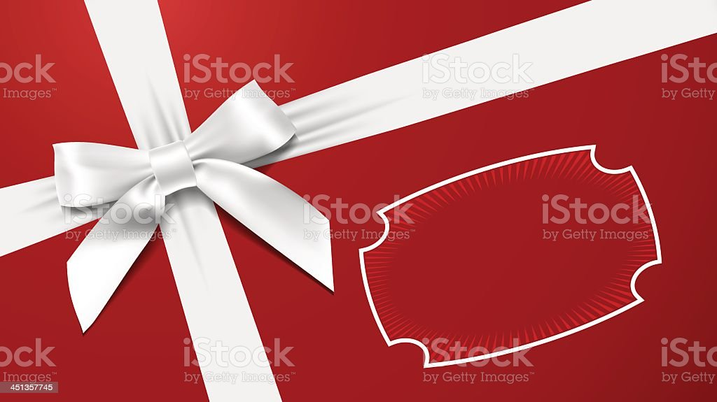 A large white bow on a red background vector art illustration