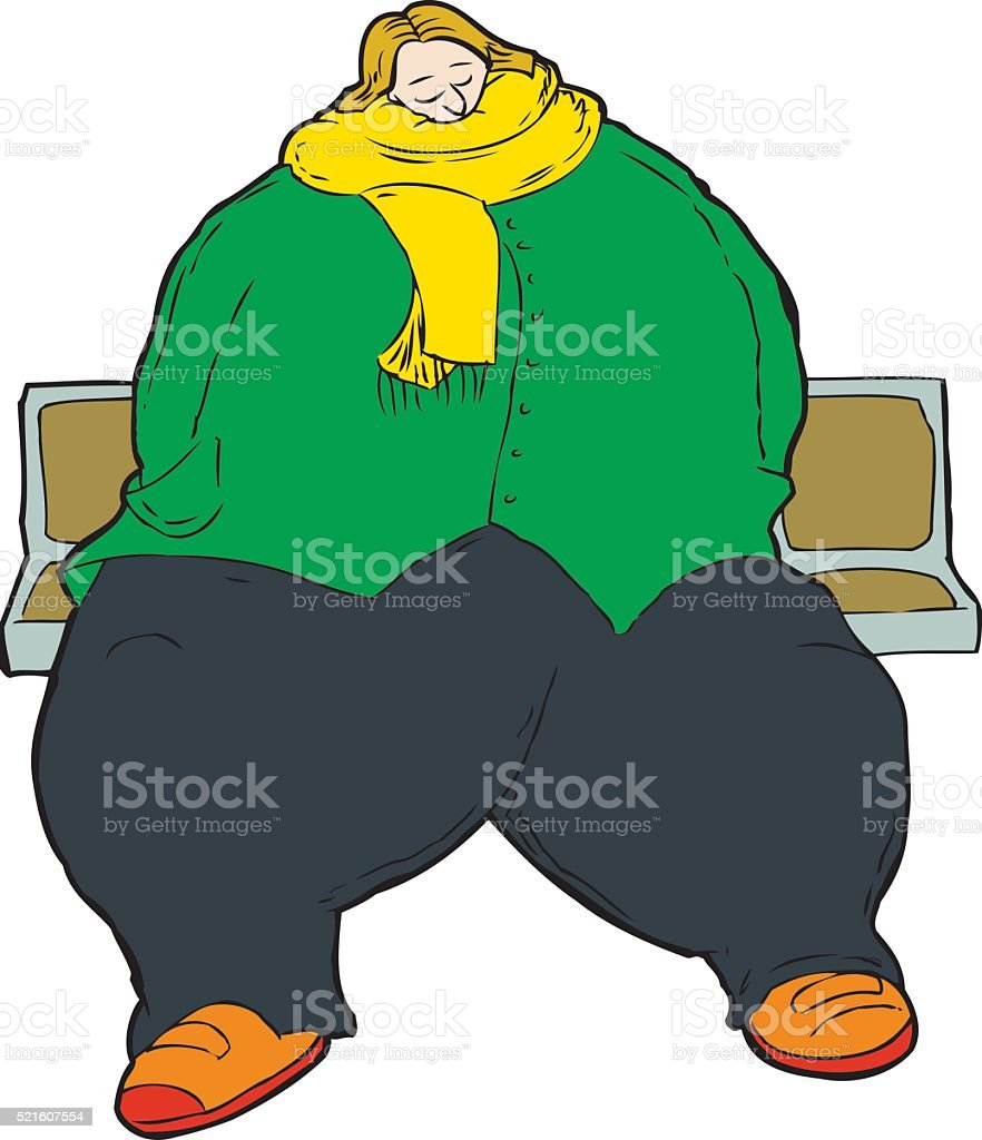 Large woman on row of seats vector art illustration