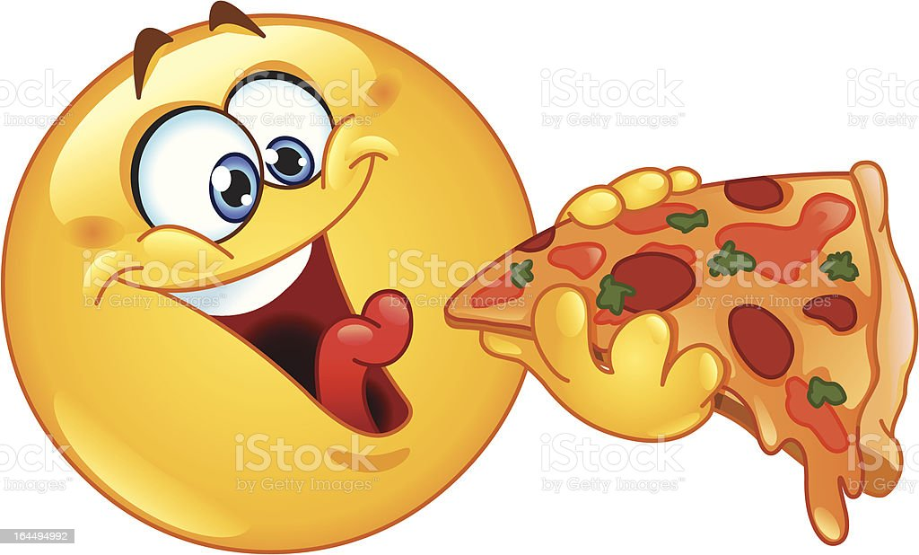 Large yellow happy emoticon eating pizza slice royalty-free stock vector art