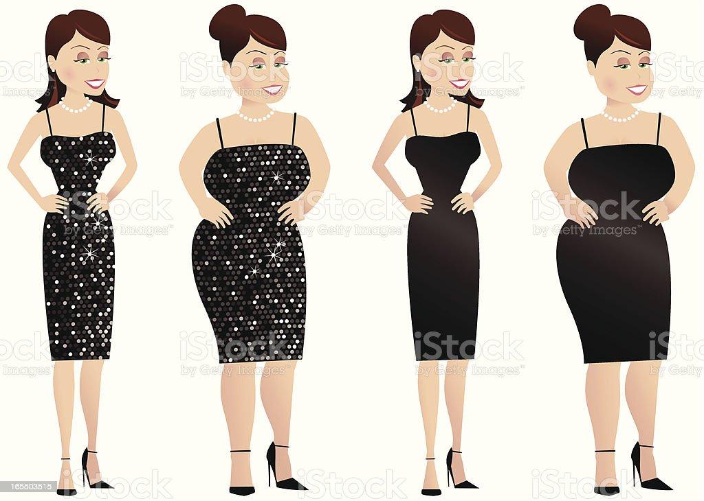 Larger and thinner women in dresses vector art illustration