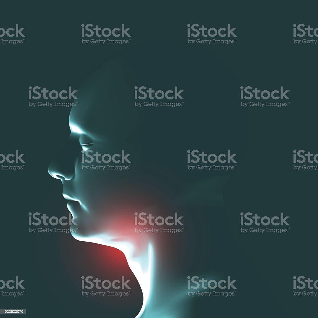 Laryngitis vector illustration. Human throat irritation. vector art illustration