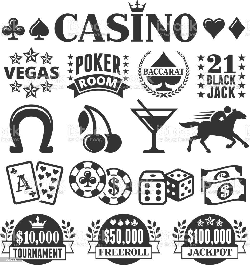 Las Vegas Casino Black & White Set vector art illustration