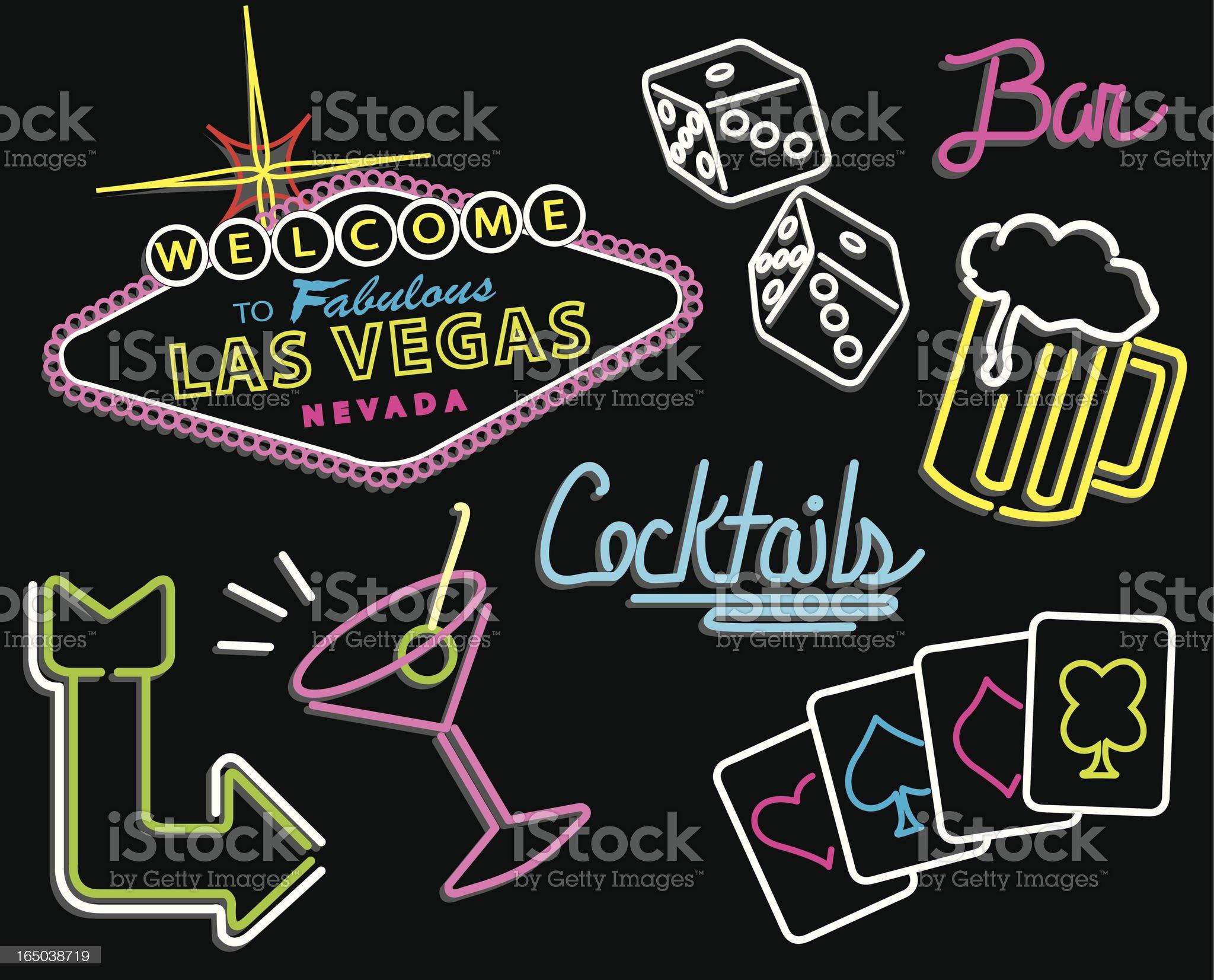Las Vegas - Neon Signs royalty-free stock vector art
