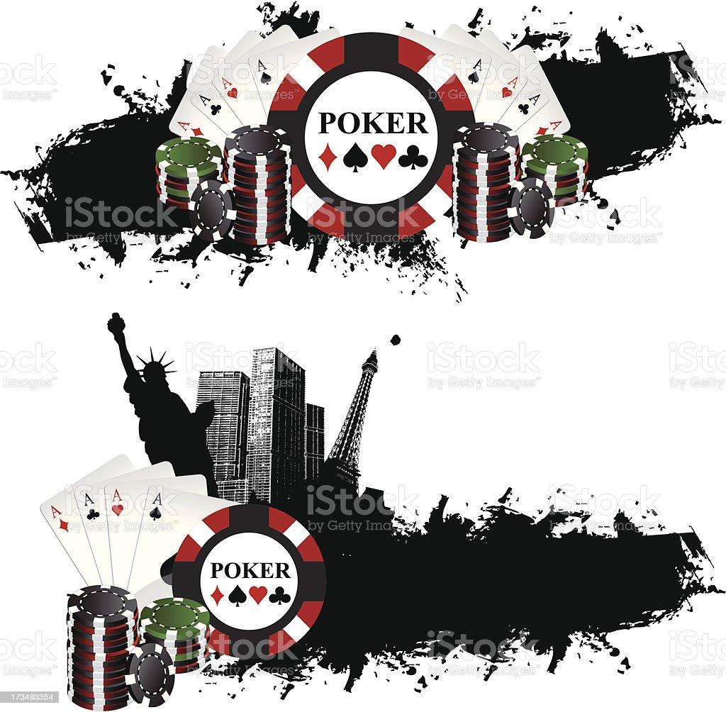 Las Vegas Poker Banners vector art illustration