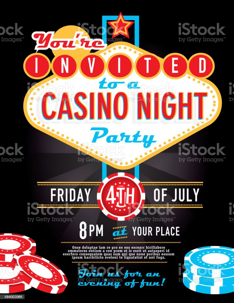Las Vegas sign party and Casino night invitation design template vector art illustration