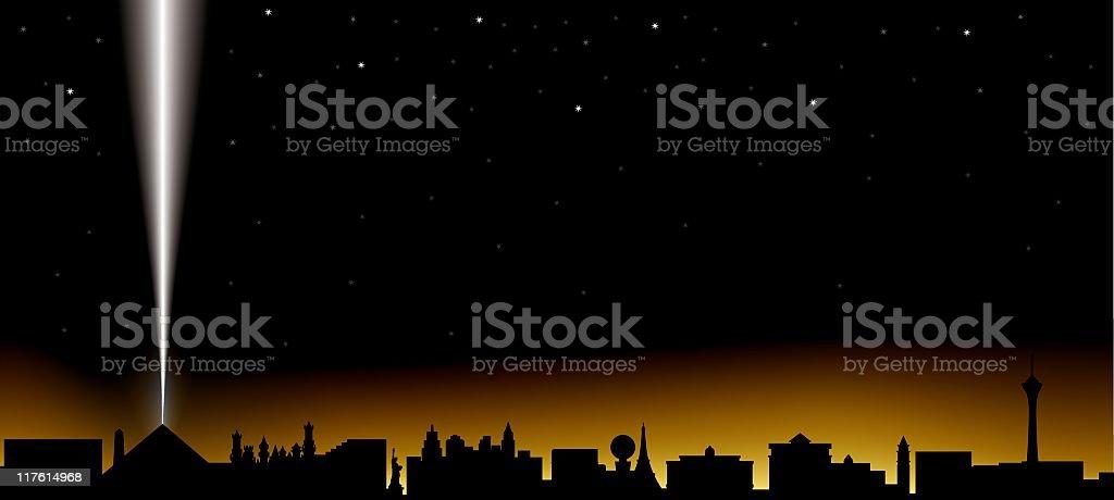 las vegas skyline at night vector art illustration