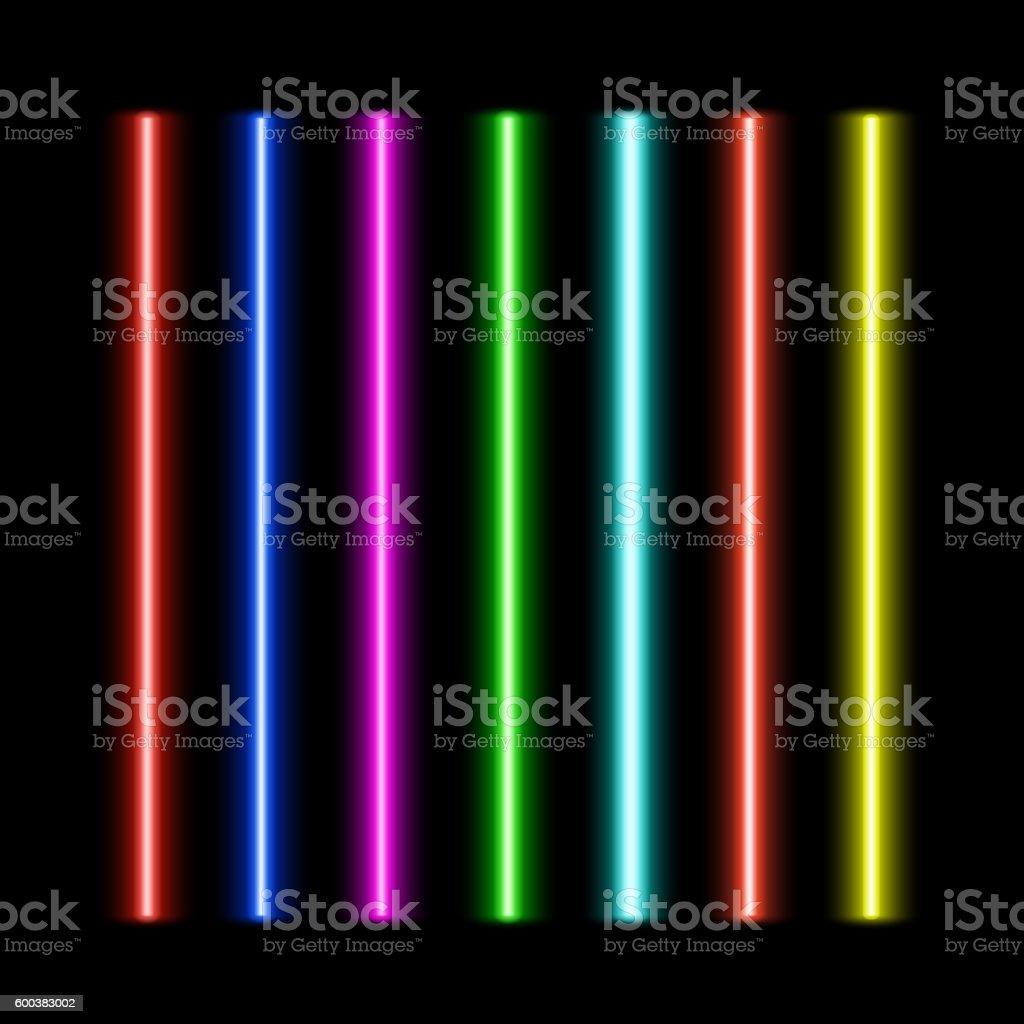 Laser beams set vector art illustration