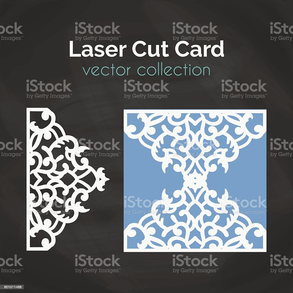 Laser Cut Card. Template For Cutting. Cutout Illustration. vector art illustration