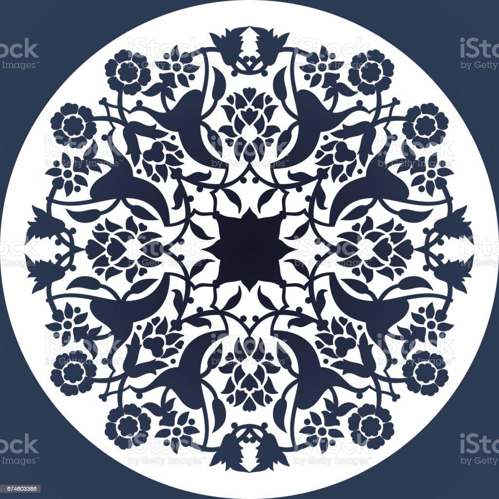 Laser cut floral arabesque circle ornament pattern vector. Template round vector art illustration