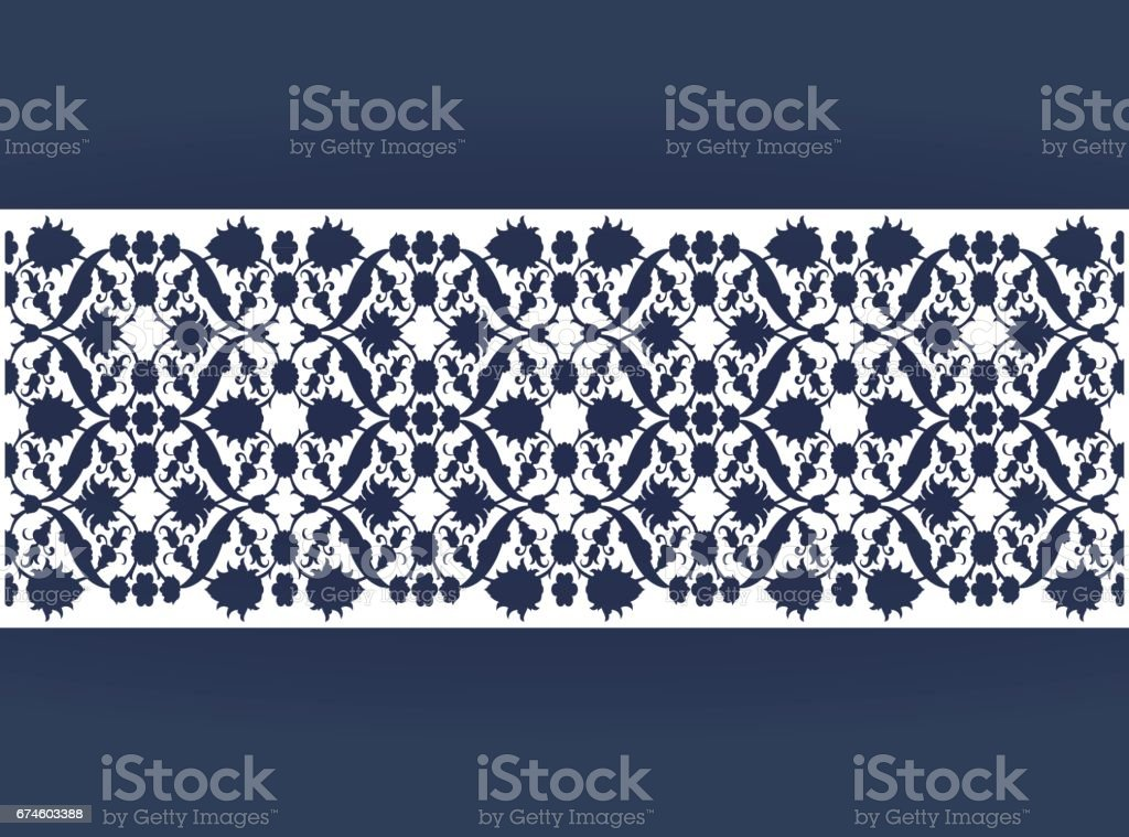 Laser cut floral arabesque ornament pattern vector. Template cutting vector art illustration