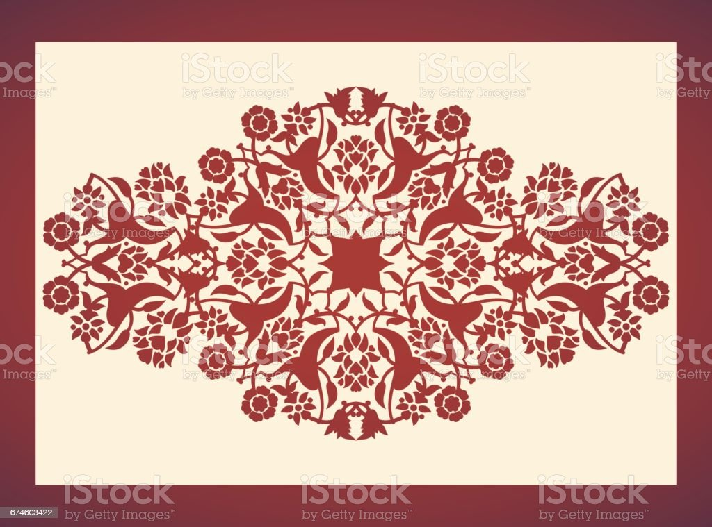 Laser cut floral arabesque ornament pattern vector. Template cutting wedding invitation, greeting card vector art illustration