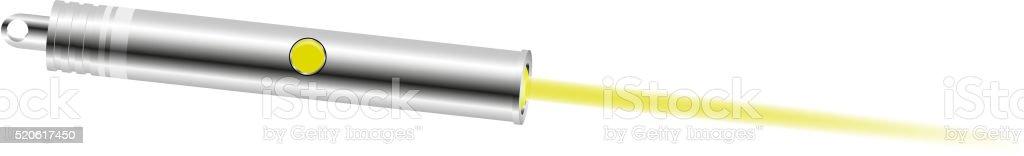 Laser pointer with yellow light vector art illustration