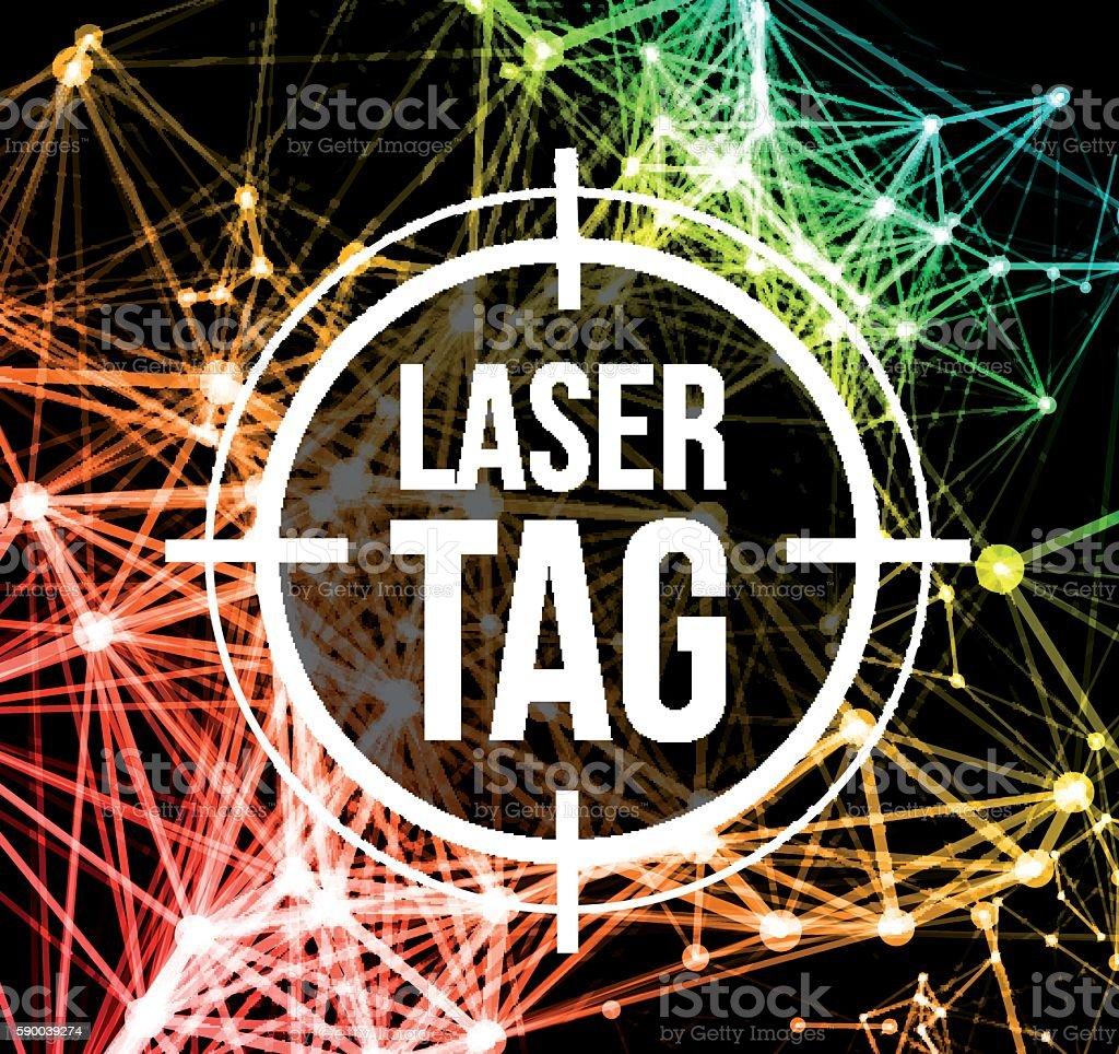 Laser tag with target vector art illustration