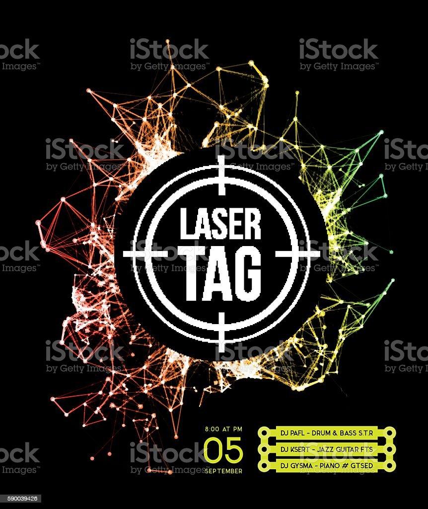 Laser tag with target vector art illustration