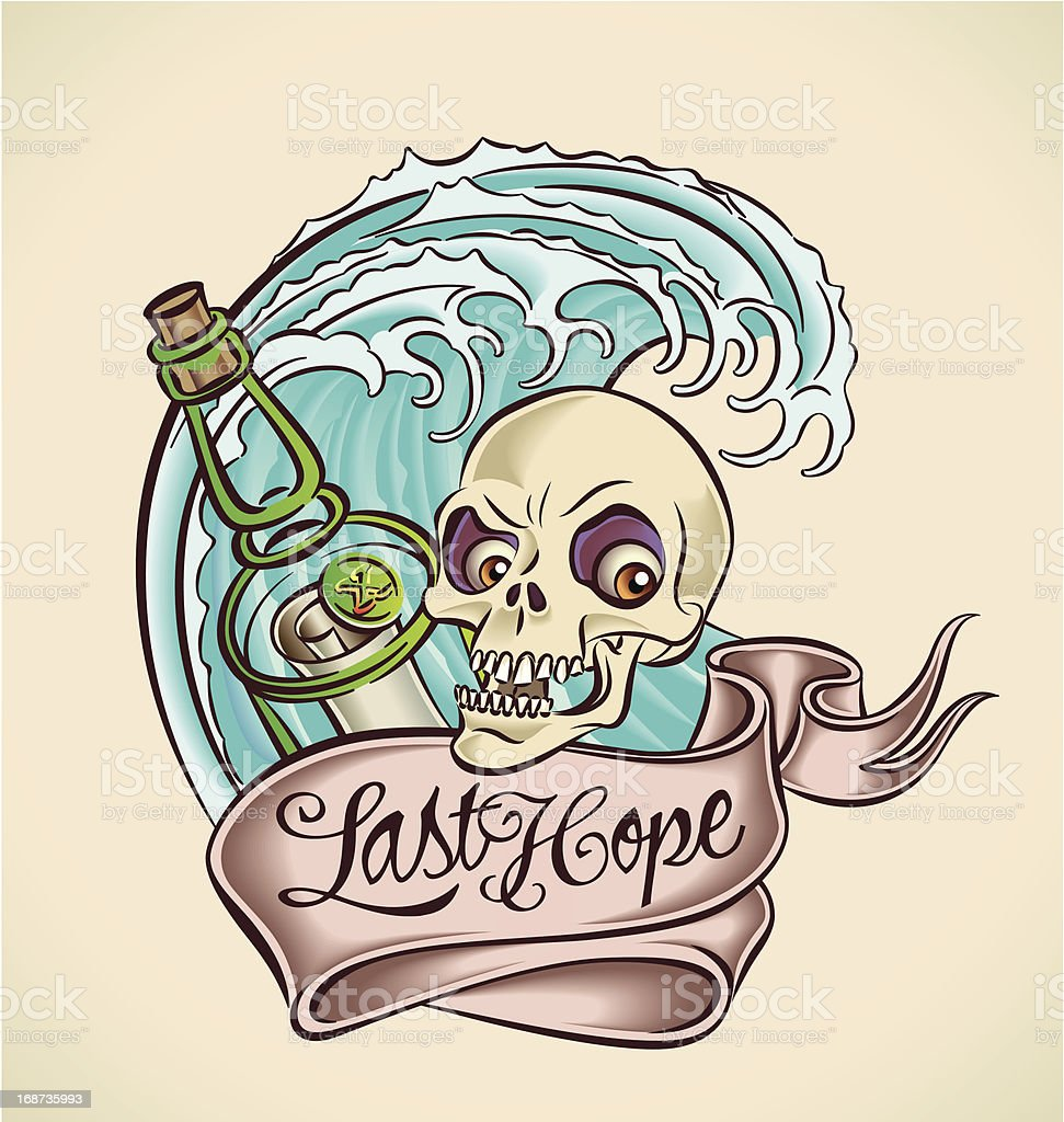 Last Hope - sailor's tattoo design royalty-free stock vector art