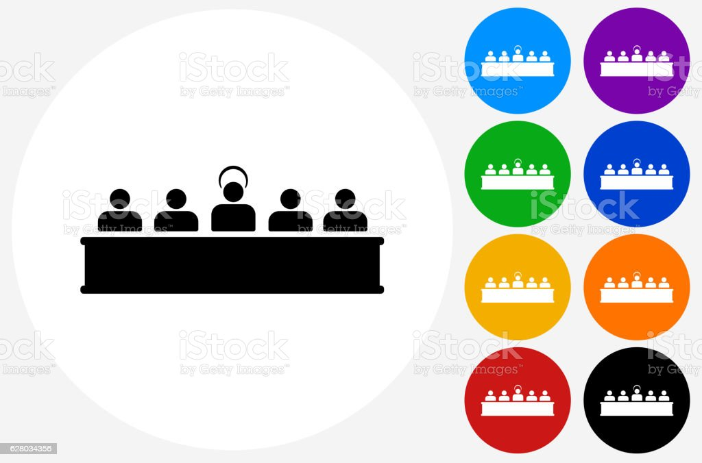 Last Supper Icon on Flat Color Circle Buttons vector art illustration