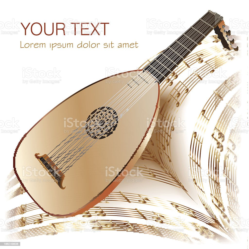 Late Baroque era lute with musical notes in retro style vector art illustration