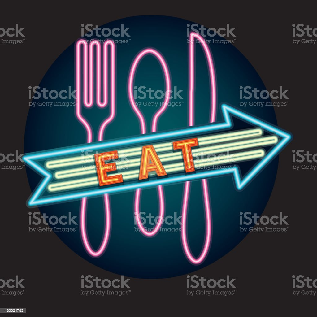 Late night Diner Eat with spoon fork knife neon sign vector art illustration