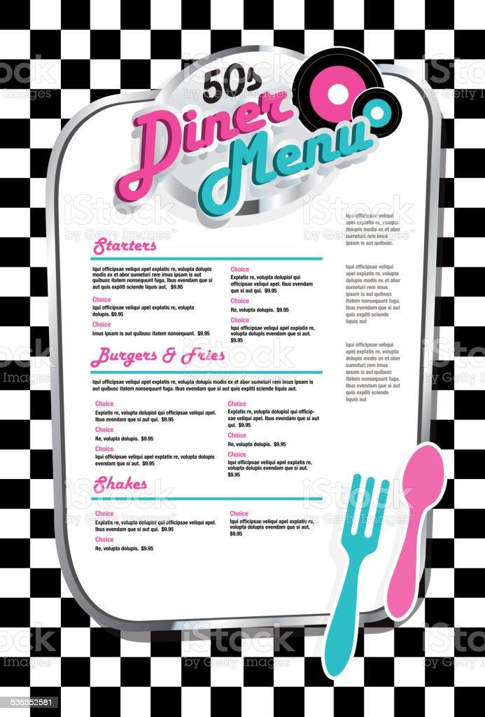 Late night retro 50s Diner  menu black and white check vector art illustration