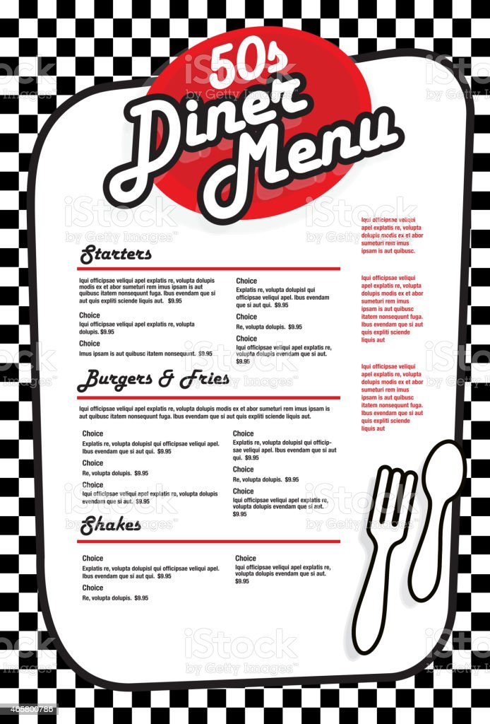 Late night retro 50s Diner  menu layout red and white vector art illustration