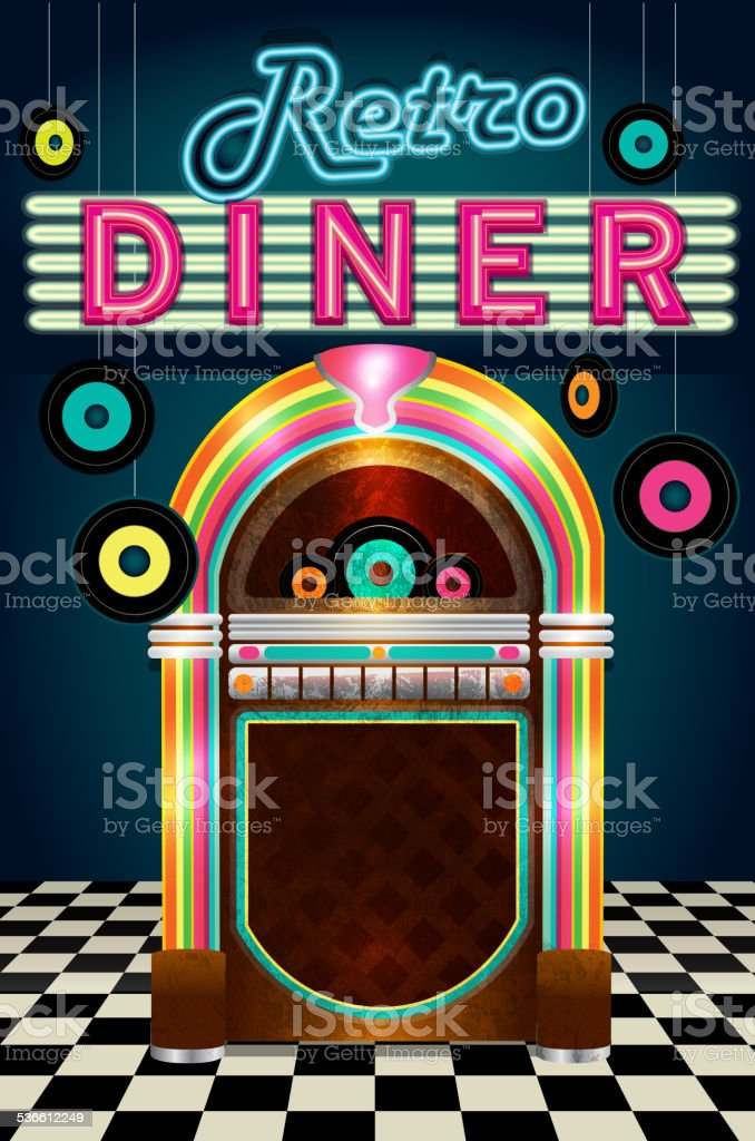 Late night retro 50s Diner  menu layout with jukebox vinyl vector art illustration
