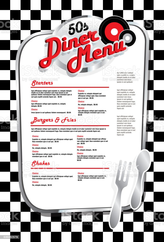 Late night retro 50s Diner menu layout with red lettering vector art illustration