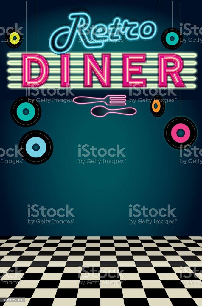 Late night retro 50s Diner neon menu layout vector art illustration