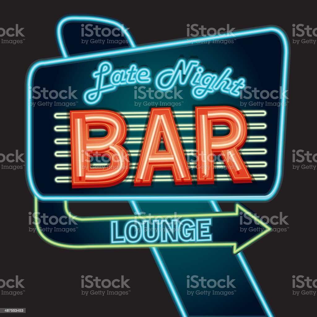 Late night retro Bar lounge neon sign vector art illustration