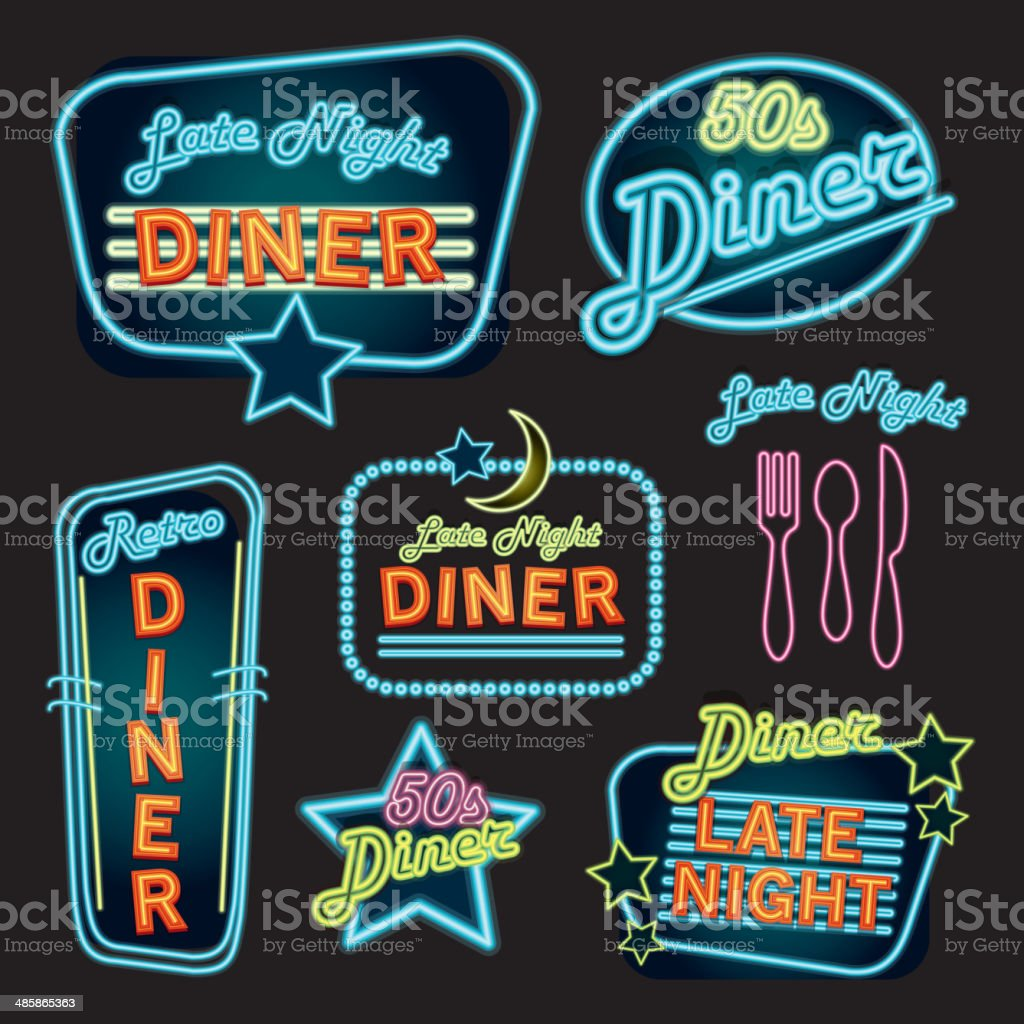 Late night retro Diner neon sign set vector art illustration