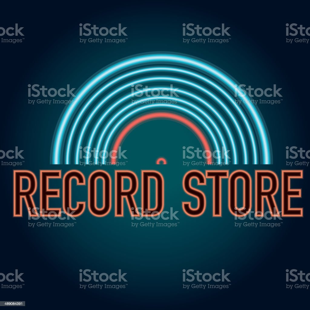 Late night retro Record store with vinyl neon sign vector art illustration