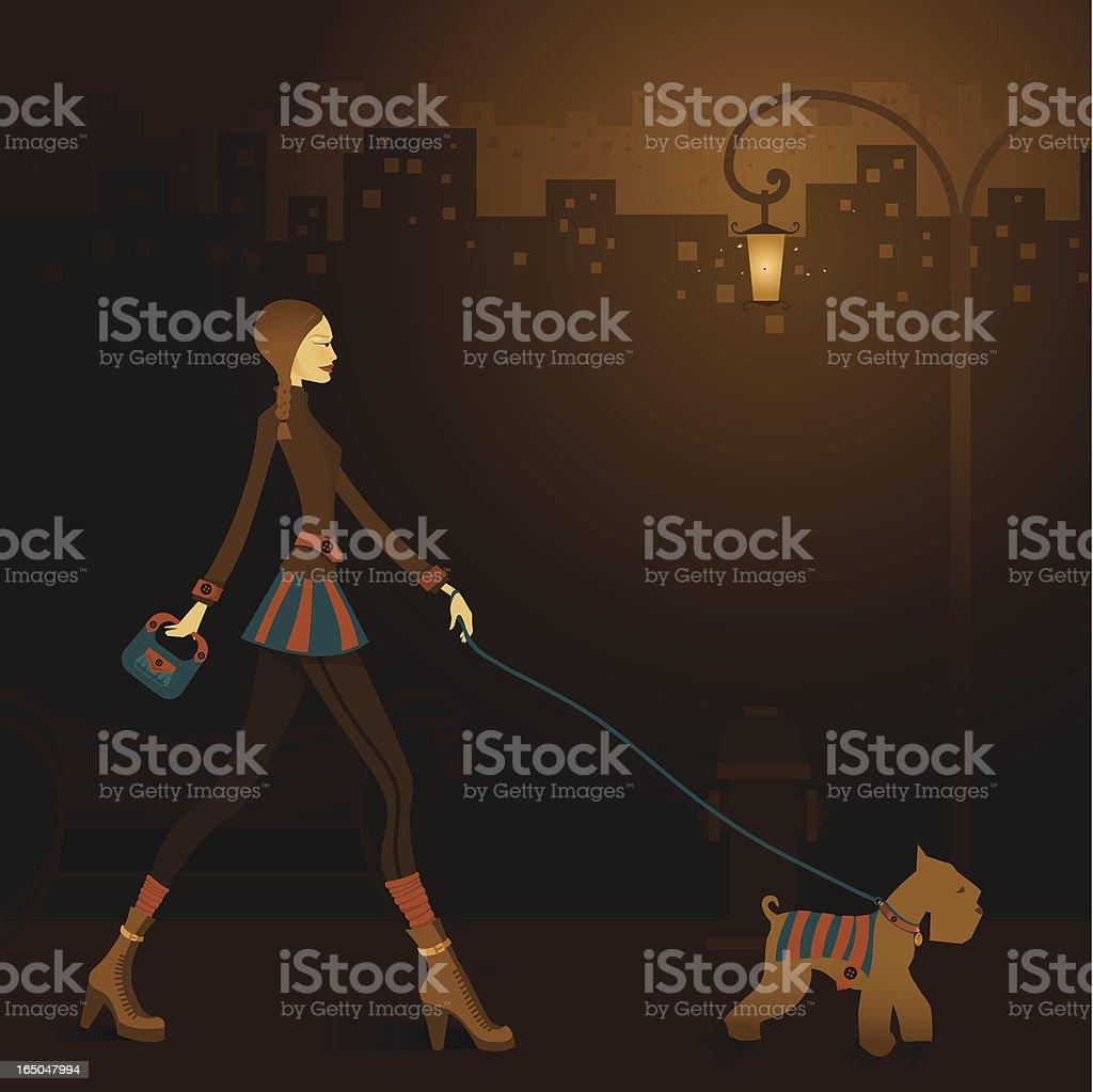 Late night walk - Vector & Jpg royalty-free stock vector art